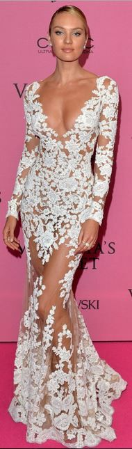 Candice Swanepoel, white lace long sleeve gown