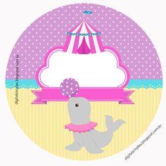 Kit de Artes digitais gratuito para imprimir, tema circo para as meninas. Para deixar a sua festa de aniversário mais alegre.