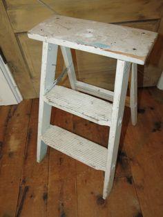 Vintage Wooden Step Stool Ladder.