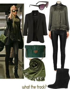 black blazer, black leather leggings, green scarf, black booties > spring, fall