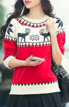 Red Black and White Reindeer Design Long Sleeve Pullover Snowflake Knit Sweater