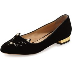 Charlotte Olympia Kitty Velvet Cat-Embroidered Flat ($495) ❤ liked on Polyvore featuring shoes, flats, shoes flats loafer, metallic loafers, round toe flats, velvet shoes, metallic flats and cat loafers