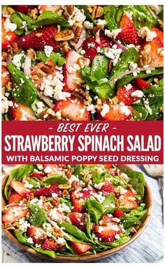 The best ever Spinach Strawberry Salad with Balsamic Poppyseed Dressing, pecans, and feta or goat cheese. This beautiful, healthy salad is always a hit and perfect for parties. Keep it vegetarian or add chicken to make it a main event! via healthy salads Chicken Salad Recipes, Healthy Salad Recipes, Spinach Salad Recipes, Healthy Salad For Lunch, Spinach Goat Cheese Salad, Simple Salad Recipes, Simple Spinach Salad, Summer Salad Recipes, Healthy Salad With Chicken