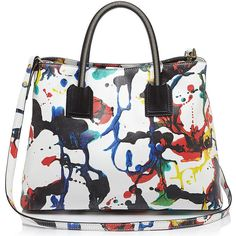 The Milly Splatter Paint Satchel ❤ liked on Polyvore featuring bags, handbags, handbags totes, white tote, satchel bag, satchel tote bag and white satchel