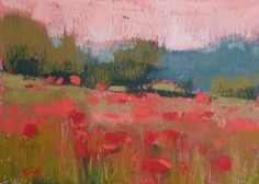 Imagine standing in this field of pinky-red wildflowers, with the pink hues of the late-in-the-day-sky - beautiful #art, #floral #painting