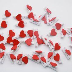 20 unids Nuevos Accesorios De Oficina Linda Mini Amante Rojo En Forma de Corazón De Madera Clips Memo Clip