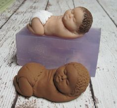 "3"" African American Biracial Baby Soft Silicone Mold for Fondant Polymer Clay Cake Decorating by LaurelArts"