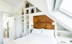 converted chapel bedroom with vaulted ceiling