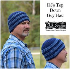 DJ's Top Down Crochet Beanie!  It's perfect for the guy in your life.