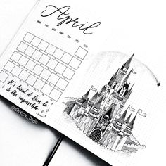 Bullet journal monthly calendar, bullet journal grid calendar, castle drawing. | @sleepy_bujo