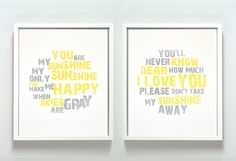 I sang this to the kids almost every day to keep them near me while I was in the shower. I think I might use these colors to re-decorate their bathroom! 'You Are My Sunshine' Print Set by Gus & Lula on today! Sunshine Love, You Are My Sunshine, You Make Me Happy, Love You, Maybe One Day, Baby Love, Baby Kids, Framed Prints, Sayings