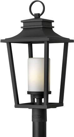 Hinkley Lighting 1741 Sullivan 1 Light Tall Post Light with Etched Opal Glas Black Outdoor Lighting Post Lights Single Head Post Lights Outdoor Post Lights, Outdoor Wall Lighting, Lantern Lighting, Pathway Lighting, Lantern Designs, Lantern Post, Hinkley Lighting, Glass Shades, Candle Sconces
