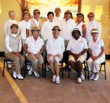 Tuscany Falls Team, first row left to right: Marilyn Williams, Donna Havener, Linda Bronzetti, Carolyn Suttles, Jane Hee; second row Sue Harrison, Mary Coon, Sally Babbitt, Susan Franzone, Dennis Downs, Maria Murray, Tess Braden and Kathy Hubert-Wyss
