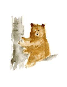 Watercolor Bear Birch Tree Original by CatherineLazarOdell on Etsy