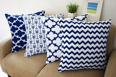 "Amazon.com - Howarmer® Blue and White Square Cotton Canvas Decorative Throw Pillows Set of 4 Accent Pattern - Navy Blue Quatrefoil, Navy Blue Arrow, Chevron Cover Set 18""x 18"" -"