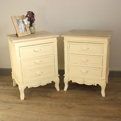 Country Ash Range - Furniture Bundle, Pair of 3 Drawer Bedside Tables Bedside table finished in country cream with a contrasting top in limed wood finish  Incredibly stylish, it is traditional french country style in its design and has three drawers offering ample storage  The carving effect to the legs gives it the extra touch  Please note this item is intentionally 'distressed' to give a vintage appearance www.melodymaison.co.uk
