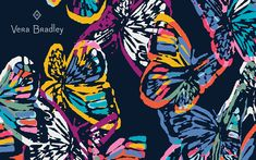 Butterfly Flutter is the pattern you'll want to carry all year long. With colorful butterflies in bright, rainbow tones on a navy background, this pretty pattern is a great way to add some color to your outfit. Computer Backgrounds, Computer Wallpaper, Navy Background, Background Patterns, Dress Your Tech, Vera Bradley Patterns, Bright Wallpaper, Pretty Patterns, Breast Cancer