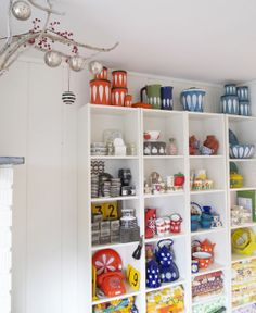 {Cathrineholm canisters, etc} those shelves are filled with awesome