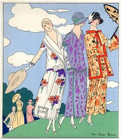 Fashion Illustration, Pochoir of Beer (Couture) Summer Dresses, 1923, by Martial Et Armand, and Doeuillet Source:  AGB (Art Goût Beauté)