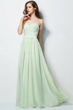 Simple Prom Dresses In Stock A Line Sweetheart Floor Length Chiffon Sage Ship In 48hours USD 79.99 STP49NHDNL - StylishPromDress.com