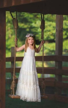 43aaba42d54 Boho-chic Girls Dress Vintage Ivory Lace Flower Girl Dress Flower Girl  Floor Length Tiered Dress Boho flower girl dress