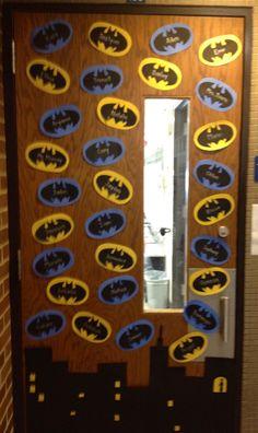 Batman door with student names For Batman theme grade hall Superhero School Theme, Superhero Classroom Decorations, Superhero Classroom Theme, Superhero Room, Classroom Walls, School Decorations, School Themes, Future Classroom, Classroom Themes