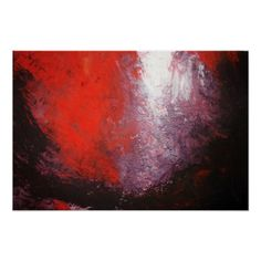Modern Red Abstract Painting Art Print Creation