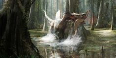 Spinosaurus aegyptiacus de pesca.
