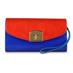 Sergio Rossi Viva Patent Leather Clutch With Wrist Strap And Gold Tone... ($700) ❤ liked on Polyvore