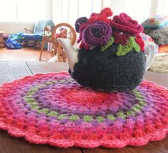 Lovely tea cozy and felted granny mandala from Crochet with Raymond blog