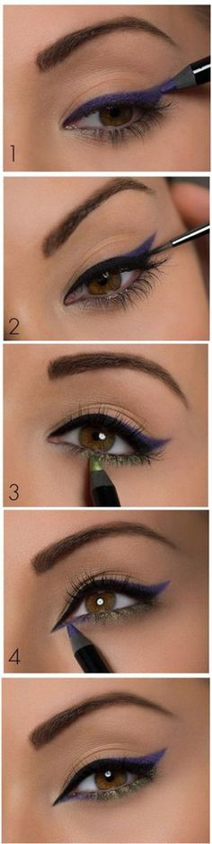 Colorful eyeliner makeup look tutorial. Follow this with your favorite makeup products. #doublewingedliner