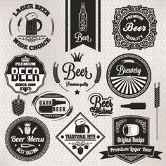 Black and white beer labels vector