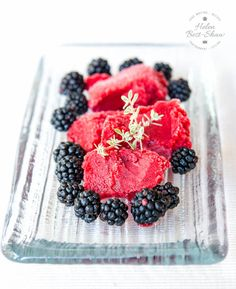 This easy blackberry sorbet with apple is gently flavoured with thyme and is perfect for fall. made in the ice cream machine.