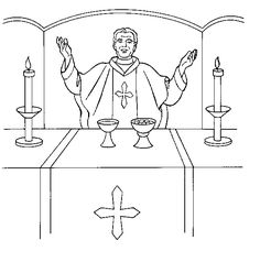 Holy Communion Coloring page. Free Printable Picture for