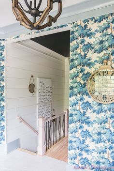 Our Dreamy Blue Wallpapered Mud Room - Addison's Wonderland