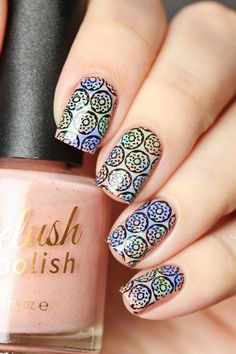 Adorable donut stamping using our High & Mightea stamping plate over our cream polishes.