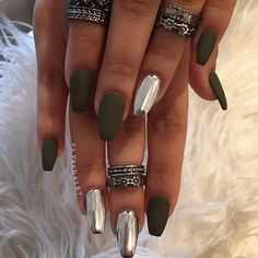 Chrome and Matte Olive Coffin Nails