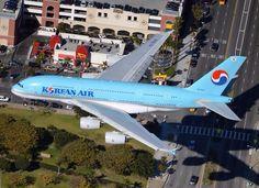 KoreanAir Airbus A380 landing at LAX airport