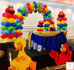Sesame Street conquered the world in this decoration. A cake table decoration combined with some columns, arch and characters. #birthday #party #cakedecorating #balloons #balloonscolumns #elmo #sesamestreet #blue #yellow #green #red #decoraevents #decoration #mississauga #toronto #brampton #Milton #oakville #markham #maple Contact us for more details @ Decora Events Tel: (416)436-0234 Email: decoraevents2010@gmail.com