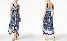 Style & Co. Printed Handkerchief-Hem Maxi Dress, Only at Macy's