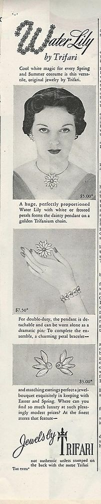 1948 1949 TRIFARI Honeycomb & Water Lily Necklaces,Bracelet ERs Pin Vintage Ads