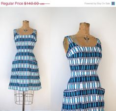 SALE 1960s dress / 60s Graphic Print Cotton by FemaleHysteria
