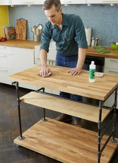 How To Combine Iron Threaded Pipe And Butcher Block To Create A Kitchen  Centerpiece.