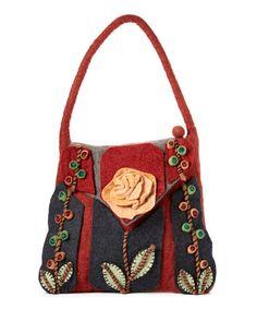 Look what I found on #zulily! Red & Denim Rose & Vine Shoulder Bag by Rising Tide #zulilyfinds