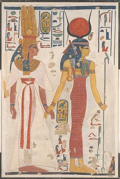 Trend: Wigs, Headdresses Historical Figure: Queen Nefertiti Queen Nefertari being led by Isis