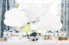 This adorable vintage-airplane themed party incorporates blues and has a classic feel.