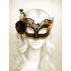 Black Gold Masquerade Mask With Various Accents Venetian Style... ($100) ❤ liked on Polyvore featuring masks
