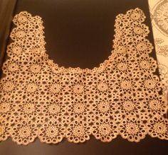 Large fine crocheted or tatted collar- dress piece- Antique, Victorian, Civil War. 14x14. $35.00, via Etsy.