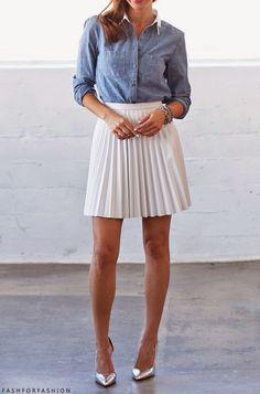 #skirt #saia #dailylook #casual #white #demin