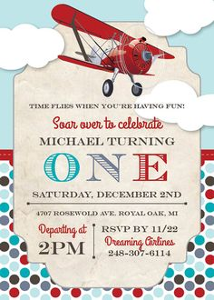 Airplane Birthday Party Invitation by DreamingInPaperEtsy on Etsy